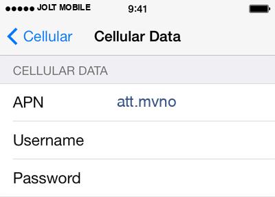 Jolt Mobile  1 APN settings for iOS screenshot