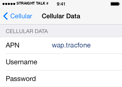 Straight Talk 2 APN settings for iOS screenshot