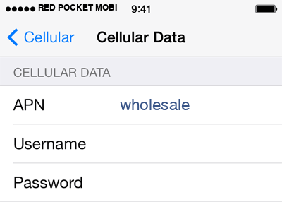 Red Pocket Mobile 2 APN settings for iOS screenshot