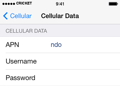 Cricket 2 APN settings for iOS screenshot
