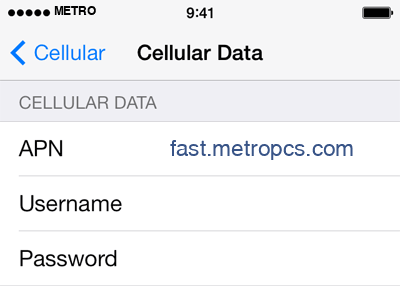 MetroPCS 2 APN settings for iOS screenshot