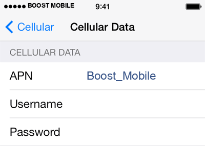 Boost Mobile 2 APN settings for iOS screenshot