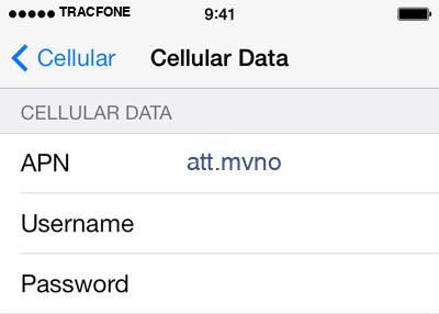 TracFone 2 APN settings for iOS screenshot