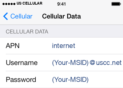 US Cellular 2 APN settings for iOS screenshot