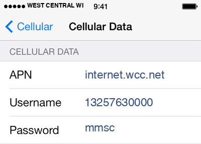 West Central Wireless 1 APN settings for iOS screenshot
