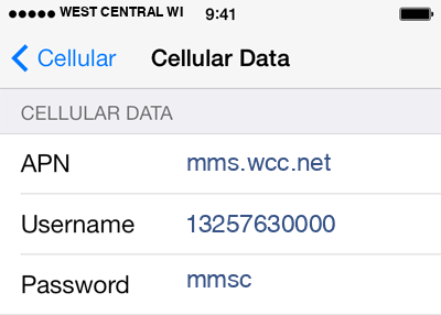 West Central Wireless 3 APN settings for iOS screenshot