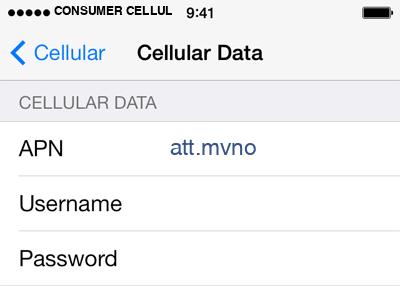 Consumer Cellular  3 APN settings for iOS screenshot