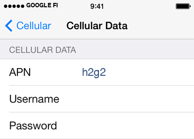 Google Fi 2 APN settings for iOS screenshot