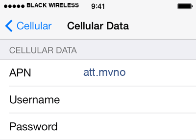 Black Wireless 2 APN settings for iOS screenshot