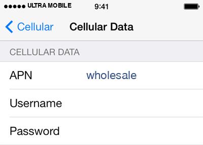 Ultra Mobile 2 APN settings for iOS screenshot