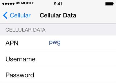US Mobile 2 APN settings for iOS screenshot