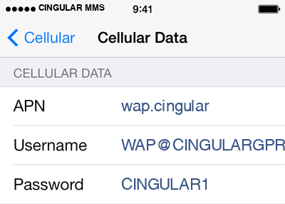 Cingular  3 APN settings for iOS screenshot