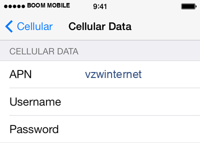 Boom Mobile 2 APN settings for iOS screenshot