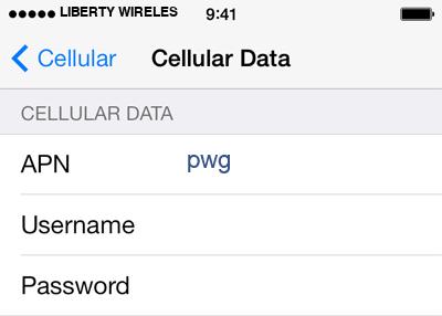 Liberty Wireless 2 APN settings for iOS screenshot