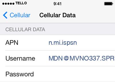 Tello 2 APN settings for iOS screenshot