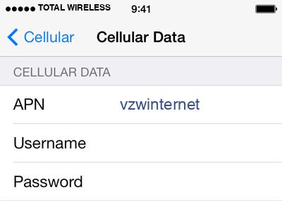 Total Wireless 2 APN settings for iOS screenshot