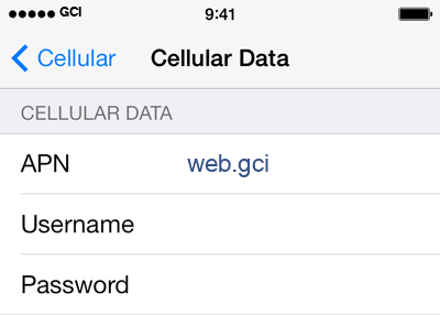 GCI 1 APN settings for iOS screenshot