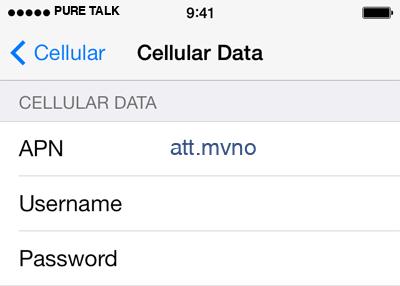 Pure Talk 2 APN settings for iOS screenshot