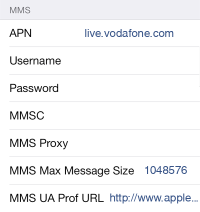 TPG 1 MMS APN settings for iOS screenshot