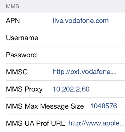 TPG 3 MMS APN settings for iOS screenshot
