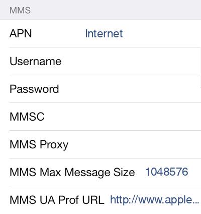 amaysim 1 MMS APN settings for iOS screenshot