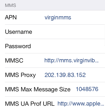 Virgin 3 MMS APN settings for iOS screenshot