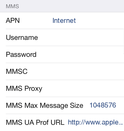 Dodo 1 MMS APN settings for iOS screenshot
