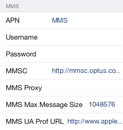 Dodo 3 MMS APN settings for iOS screenshot