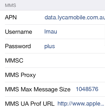Lycamobile 1 MMS APN settings for iOS screenshot