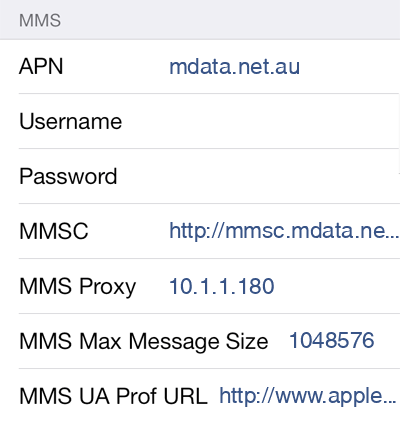 Belong Mobile 2 MMS APN settings for iOS screenshot