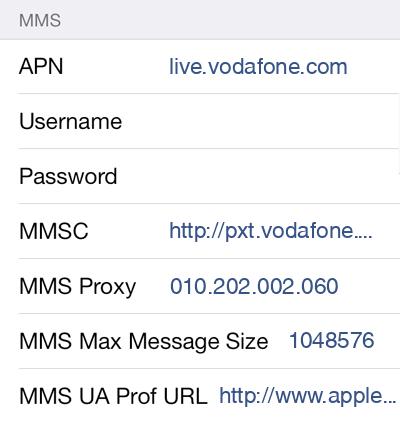 Vodafone 2 MMS APN settings for iOS screenshot