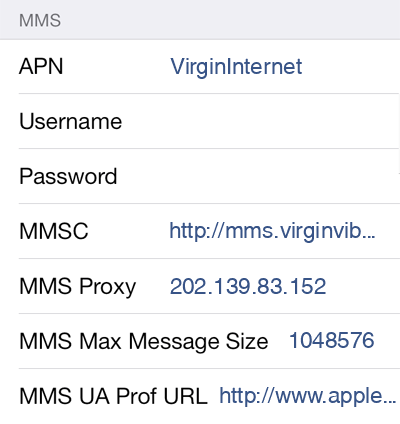 Virgin 2 MMS APN settings for iOS screenshot