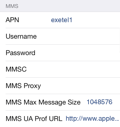 Exetel 1 MMS APN settings for iOS screenshot