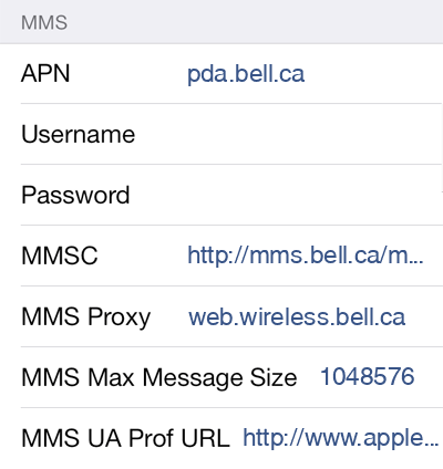 Bell 2 MMS APN settings for iOS screenshot