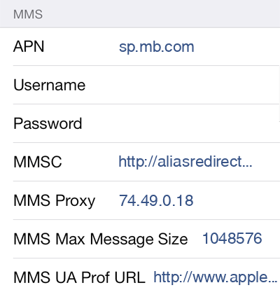 Public Mobile 2 MMS APN settings for iOS screenshot