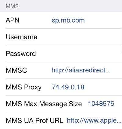 Public Mobile 2 MMS APN settings for iOS screenshot