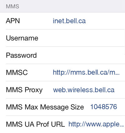 Virgin Mobile 2 MMS APN settings for iOS screenshot