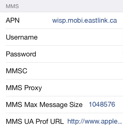 Eastlink 1 MMS APN settings for iOS screenshot