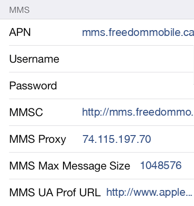 Freedom Mobile 3 MMS APN settings for iOS screenshot