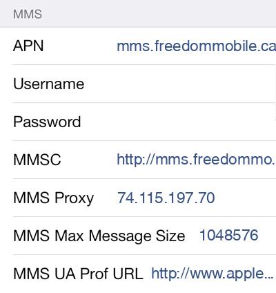 Freedom Mobile 3 MMS APN settings for iOS screenshot