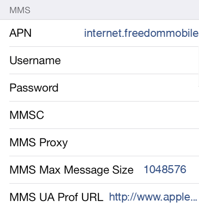 Freedom Mobile 1 MMS APN settings for iOS screenshot