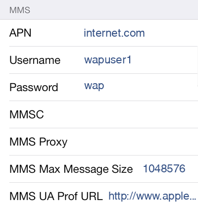 Rogers 1 MMS APN settings for iOS screenshot