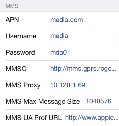 Rogers 3 MMS APN settings for iOS screenshot