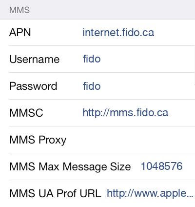 Fido 2 MMS APN settings for iOS screenshot