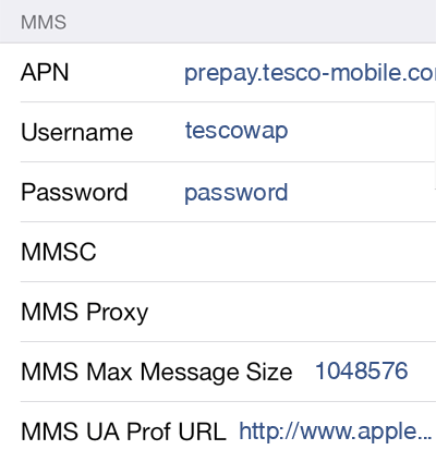 Tesco Mobile 1 MMS APN settings for iOS screenshot
