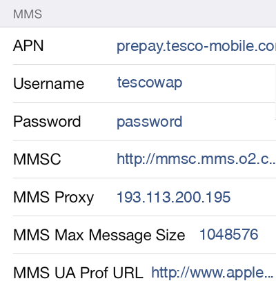 Tesco Mobile 3 MMS APN settings for iOS screenshot