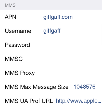 Giffgaff 1 MMS APN settings for iOS screenshot
