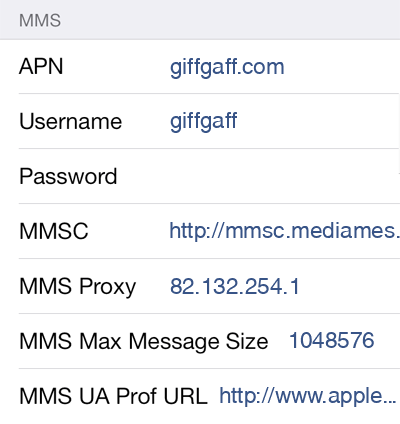 Giffgaff 3 MMS APN settings for iOS screenshot