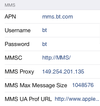 BT Mobile 3 MMS APN settings for iOS screenshot