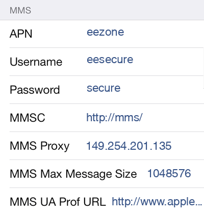 Asda Mobile 3 MMS APN settings for iOS screenshot